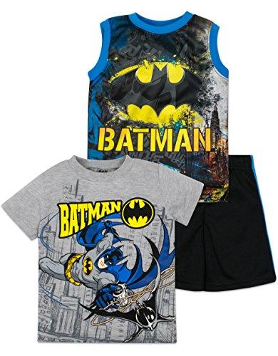 Batman+tank+top Products : Baby Boys' Batman Shirt, Shorts and Tank Top 3 Piece Set - Grey