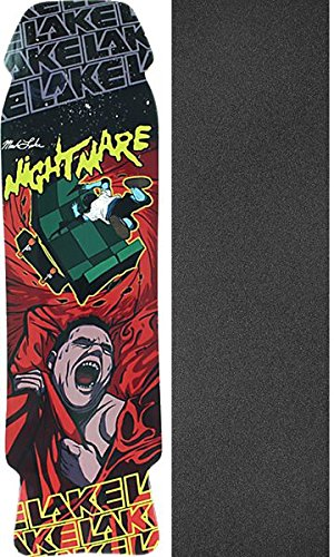 Lake Skateboards Nightmare Black/Red Skateboard Deck - 8.75'' x 32.5'' with Black Magic Griptape - Bundle of 2 items by Lake Skateboards