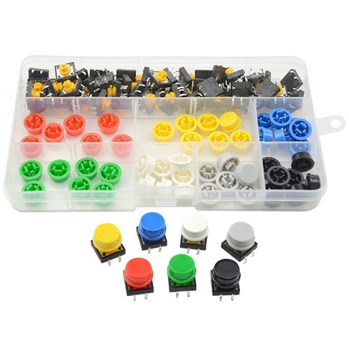 XLX 98PCS B3f-4055 Micro Momentary Tactile Push Button Switch 12mm x 12mm x 7.3mm and Keycap with Seven Color: Red Yellow Blue Green White Gray Black Tact Button Switch Assortment Box