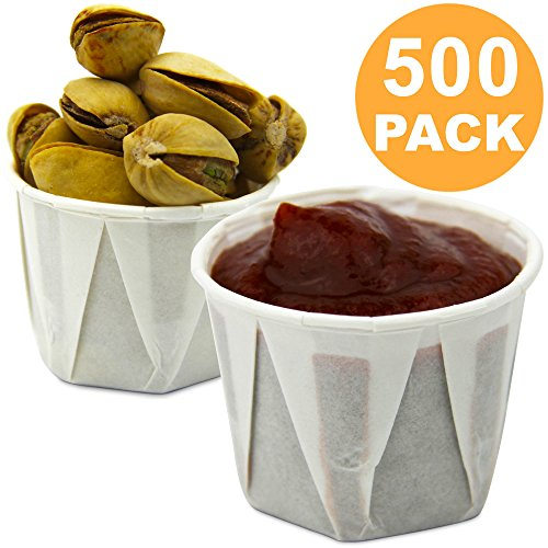 1 oz Treated Paper Souffle Portion Cups for Condiments Samples Medicine Measuring Jello Shots Sauce Disposable Cup - White, 500 Pack