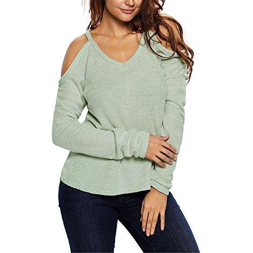 SEBOWEL Cold Open Shoulder V Neck Loose Knitted Sweater Top Blouse