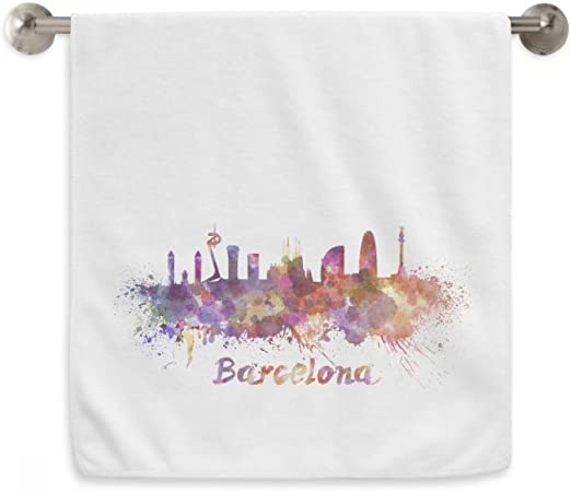 DIYthinker Barcelona, España Ciudad Acuarela Circlet Blanca Toallas Toalla Suave paño de 13X29 Pulgadas 13 x 29 Pulgadas Blanco: Amazon.es: Hogar