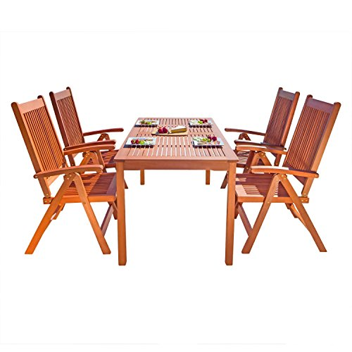 Vifah V98SET20 Outdoor 5-Foot Wood Rectangular Table with...