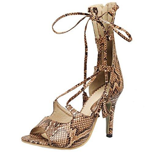 COOLCEPT Mujer Moda Elegant Tacon de Aguja Cross Strap Sandalias With Cremallera Khaki