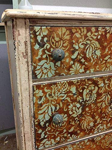 Small Brocade Floral Furniture Stencil for Painting Flower Designs on Dresser Drawers or Cabinets ()