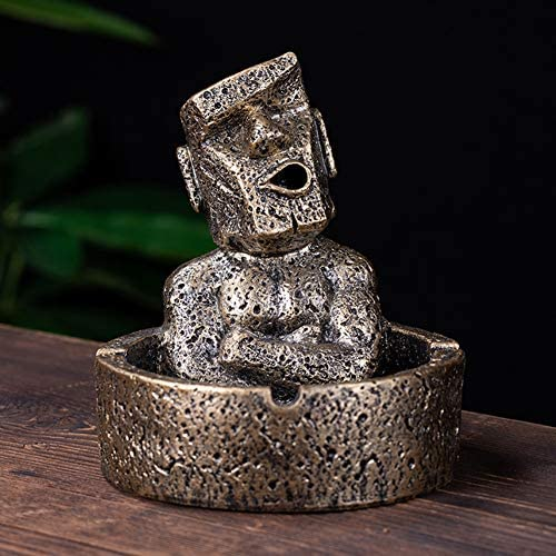 HEYFAIR Creative Retro Moai Stone Cigarette Ashtray for Home Car (Golden Grey)