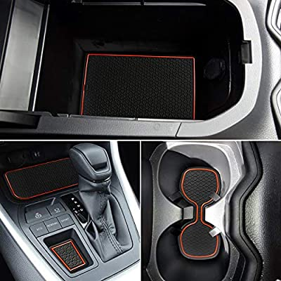 Auovo Anti Dust Mats for Toyota RAV4 2020 2020 Custom Fit Door Compartment Cup Holder Console Liners Interior Accessories(13pcs/Set) (Orange): Automotive