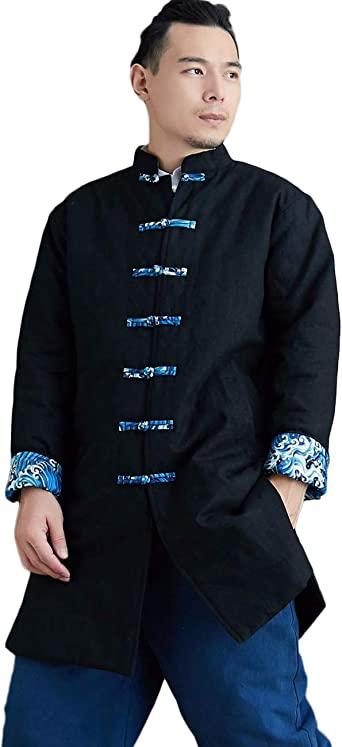 Mens Stand Collar Cotton Padded Quilted Jacket Dragon Printed Chinese Style Coat