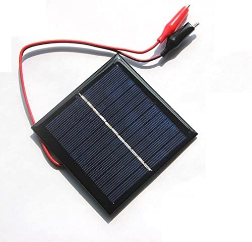TOOGOO 1W 5.5V Solarzelle Epoxid polykristalliner Sonnenkollektor + Klipp fuer das Laden von 3.7V Batteriesystem Spielzeug LED-Licht Studie 95 * 95MM