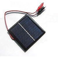 SODIAL Panel solar policristalino de epoxi de la celula solar 1W 5.5V + Clip para cargar el juguete del sistema de bateria de 3.7V Estudio de luz LED 95 * 95MM