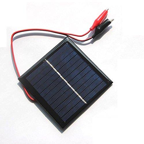 SODIAL 1W 5.5V Solar Cell Epoxy Polycrystalline Solar Panel+Clip For Charging 3.7V Battery System Toy LED Light Study 95*95MM
