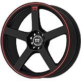 "Motegi Racing MR116 Matte Black Wheel With Red Racing Stripe (16x7""/5x100, 114.3mm, +40mm offset)"