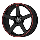 4 lug 17 inch rims set - Motegi Racing MR116 Matte Black Wheel With Red Racing Stripe (17x7