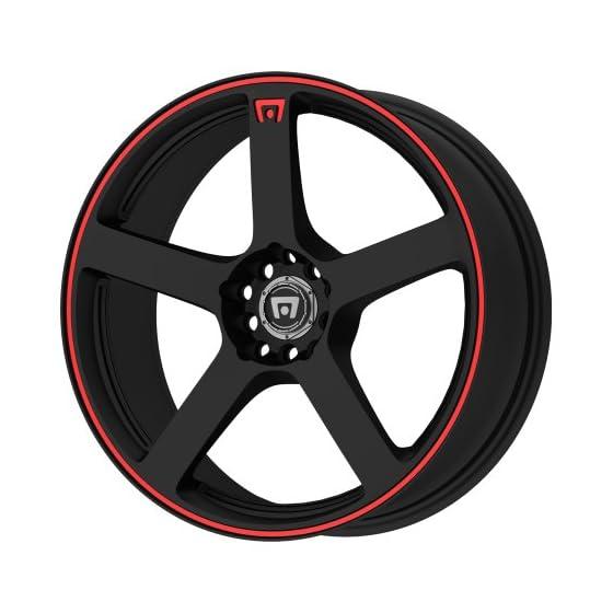 Motegi Racing MR116 Matte Black Wheel With Red Racing Stripe (15×6.5″/4×100, 114.3mm, +40mm offset)