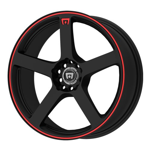 (Motegi Racing MR116 Matte Black Finish Wheel with Red Accents (18x8