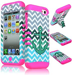Bastex Hybrid Case for Apple iPhone 5c - Hot Pink Silicone with Teal & White Anchor Design Chevron Pattern Hard Kickstand Shell