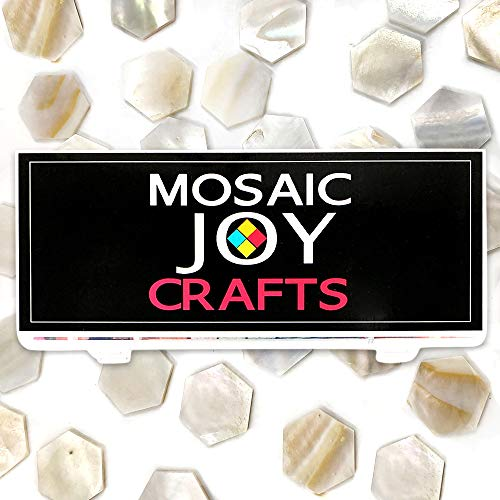 Mosaic Tiles Mother of Pearl Mosaic Pieces Hexagon Shape Supplies Bulk for Crafts White Mosaic Pieces for DIY Adult Crafts by Moasic Joy (11 OZ, Hexagon)