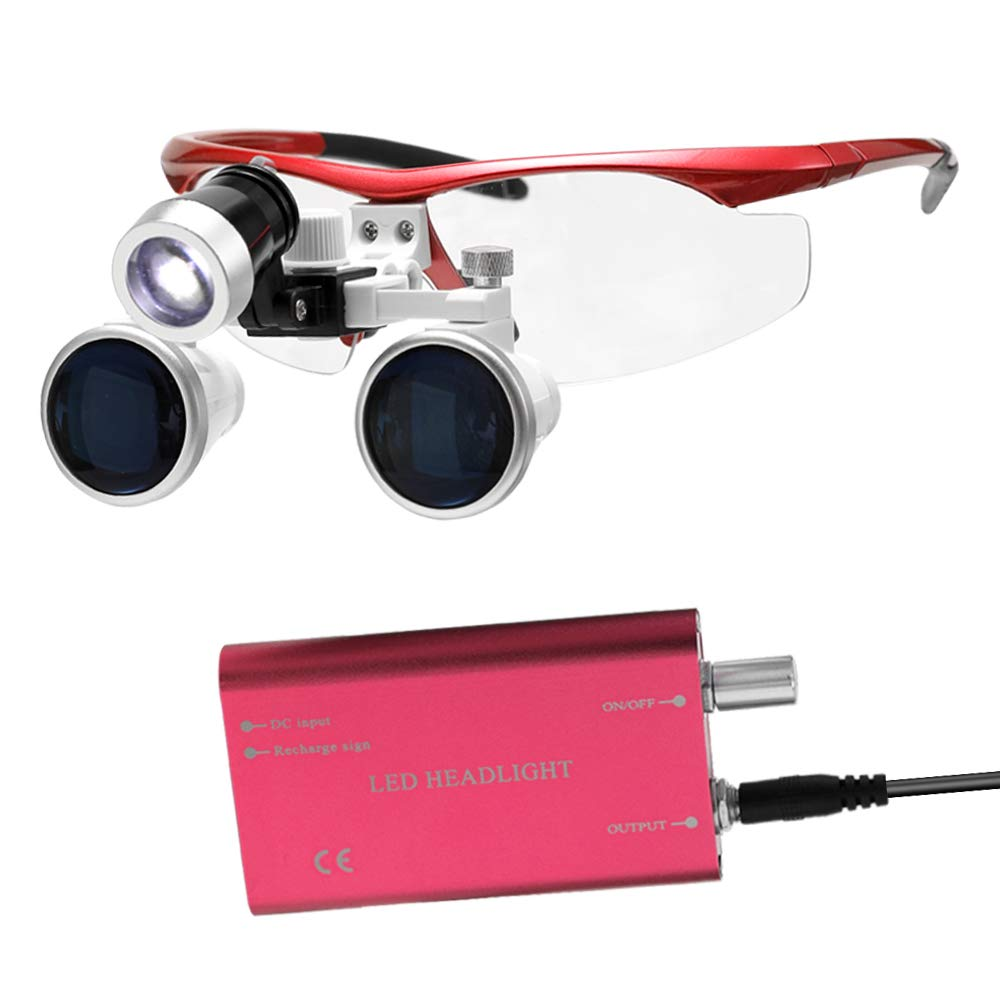 Festnight Wearable Magnifier Portable 3.5X 420mm Surgical Medical Binocular Loupes Optical Glass Headset Magnifying Glasses +3W LED Headlight