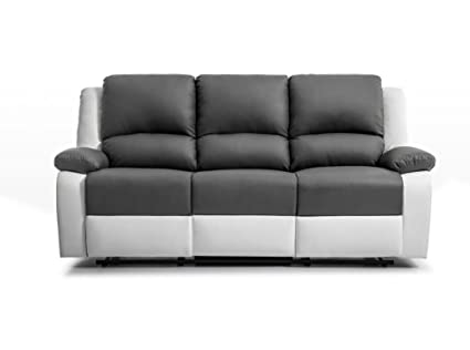super populaire fca78 5cecc Générique Relax canapé Droit de Relaxation en Simili et Tissu 3 Places -  190x93x96 cm - Gris et Blanc
