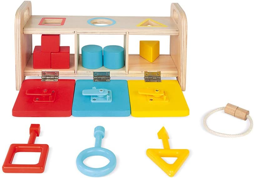 Janod Shape Sorter Box with Keys – Wooden Sorting Toy with Geometric Shapes – Educational Toy for Dexterity and Fine Motor Skills – Teaches Counting, Shapes and Colors – Ages 12+ Months