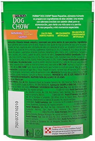 DOG CHOW Alimento Húmedo Adultos Razas Pequeñas Salmon, Paquete con 20 Pzas de 100g 7