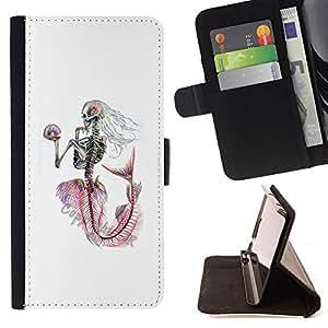 BullDog Case - FOR/LG G2 D800 / - / WHITE SKELETON MERMAID CAPTAIN /- Monedero de cuero de la PU Llevar cubierta de la caja con el ID Credit Card Slots Flip funda de cuer