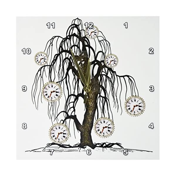 3dRose DPP_102676_1 Steampunk Weeping Tree Design-Wall Clock, 10 by 10-Inch 3