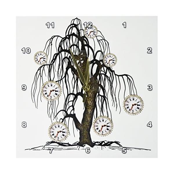 3dRose DPP_102676_1 Steampunk Weeping Tree Design-Wall Clock, 10 by 10-Inch 3
