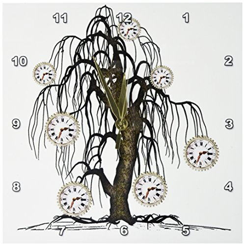 3dRose dpp_102676_1 Steampunk Weeping Tree Design-Wall Clock, 10 by 10-Inch