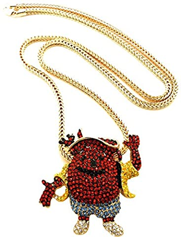 GWOOD Kool Aid Necklace Man Pendant With Gold Color 36 Inch Franco Chain (Chief Keef Pendant)