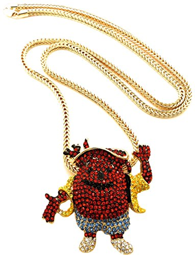 GWOOD Kool Pendant Man with Gold Color 36 Inch Franco Chain(Gold Color with Blue Shorts) -