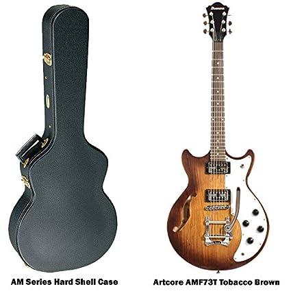 Ibanez Artcore amf73t Semi hueca cuerpo para guitarra eléctrica, color marrón, con carcasa rígida