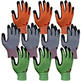 3M Super Grip 200 Gardening Gloves Work Gloves -10 Pairs, Assorted Colors (Large)