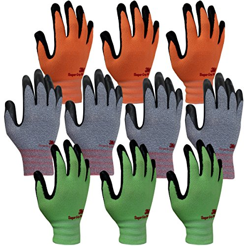 3M Super Grip 200 Gardening Gloves Work Gloves -10 Pairs, Assorted Colors (Large) by 3M Super Grip