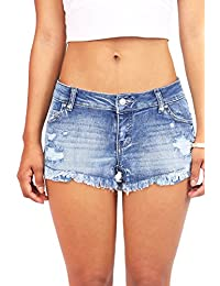 Women's Juniors Denim Shorts w Heavy Frayed Hem