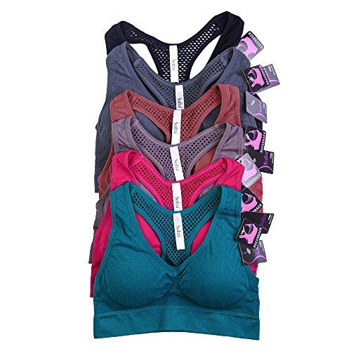 Uni Style Apparel Women 6 Pack Seamless Sports Bra (One Size, Black, Grey, Turq, Plum, Rose, Magenta) For Sale