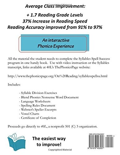 Amazon Syllables Spell Success Student Workbook 9781976403057