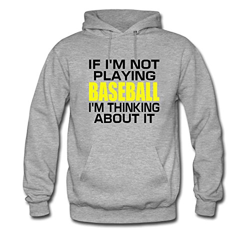 WYLIN Men's If I'm Not Playing Baseball I'm Thinking About It Hoodie