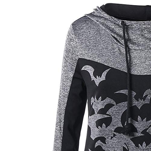 Outwear Bats Sleeve Coat Blouse Pullover Party Women's Crewneck Sweater Print Long Tops Halloween Shirt Sweatshirt Jacket Hoodie Black Hooded xCqFZB