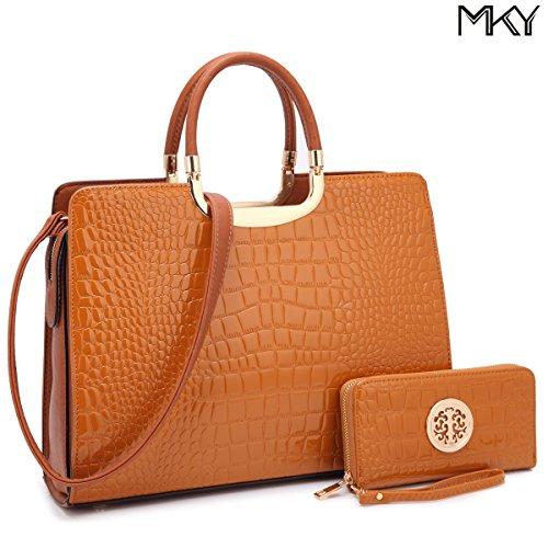 Patent Leather Satchel Handbag Designer Purse Wallet Set Striped Shoulder Bag (Brown Patent Faux Leather)
