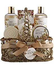 Home Spa Gift Basket - Honey & Almond Scent - Luxury Bath & Body Set For Women and Men - Contains Shower Gel, Bubble Bath, Body Lotion, Bath Salt, Bath Bomb, Puff & Handmade Weaved Basket