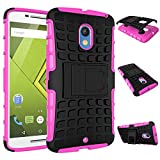MOONCASE Moto X Play Case Detachable 2 in 1 Hybrid Armor Design Shockproof Tough Rugged Dual-Layer Case Cover with Built-in Kickstand for Motorola Moto X Play Hotpink