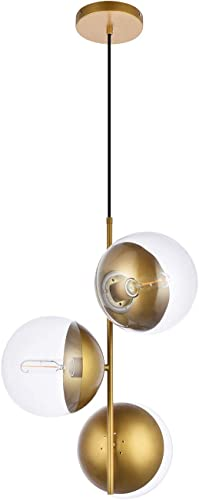 A1A9 Sphere Glass Ceiling Lights, Mid Century Modern Clear Glass Globe Sputnik Chandelier with 3 Lights, LED Pendant Lamp Fixture for Dinning Room, Living Room, Office, Bedroom, Lounge Brass