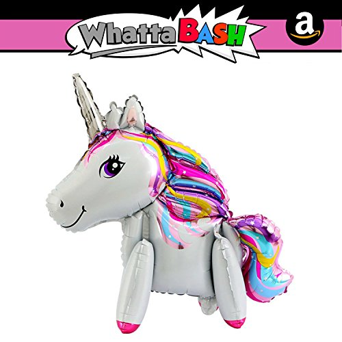 Large Rainbow Happy Birthday Walking Unicorn Theme Balloon Decorations Kit Set - Unicorn Party Favors Supplies for Girls Essentials Accessories Gift - Decoracion De Unicornio para Cumpleaños Fiesta for $<!--$6.95-->