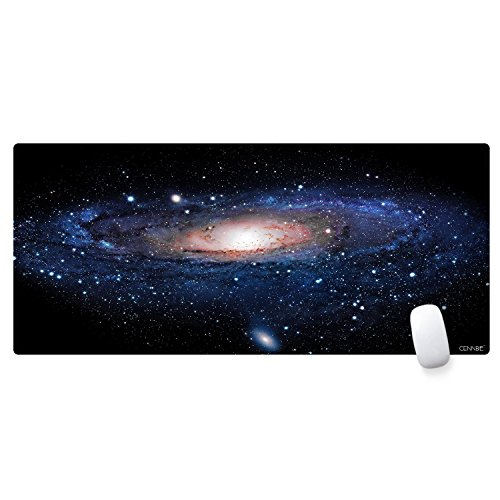 CENNBIE Rectangle Large Gaming Mouse Pad Extended Oblong Gaming Mousepad Edge Stitched Mouse Mat in 895mm395mm1.8mm (Galactic System) by CENNBIE