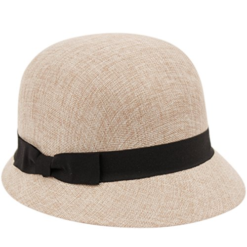 - Women's Gatsby Linen Cloche Hat with Lace Band and Flower (CL2696KHAKI)
