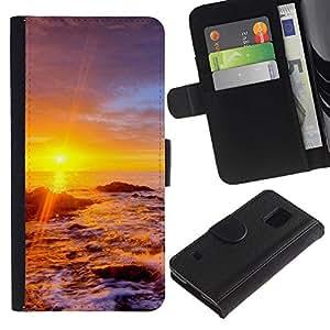 JackGot ( Tramonto Beautiful Nature 34 ) Samsung Galaxy S5 V SM-G900 la tarjeta de Crédito Slots PU Funda de cuero Monedero caso cubierta de piel