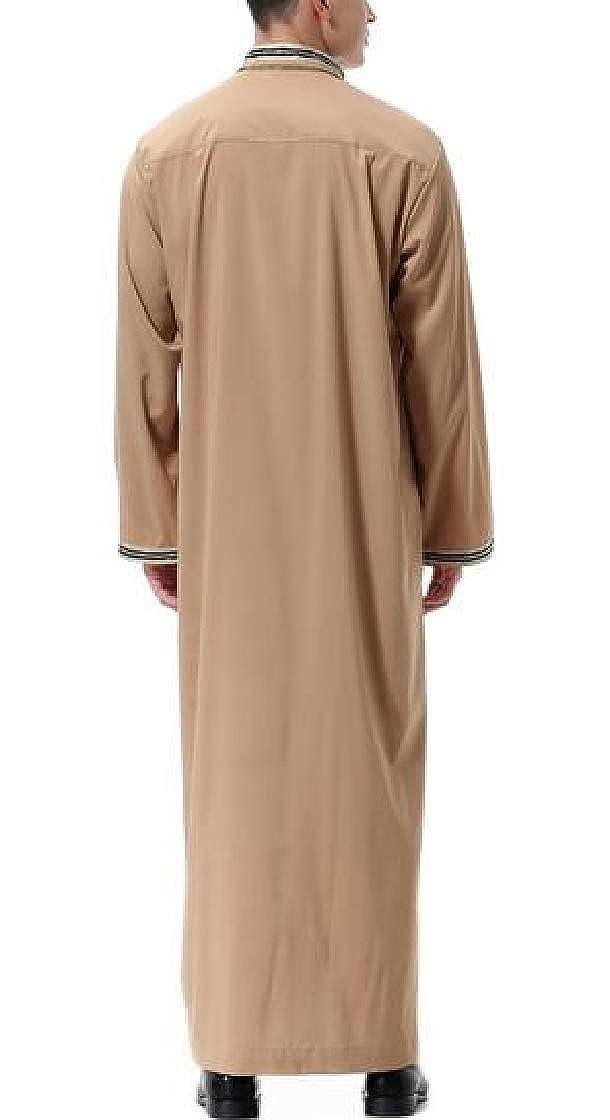 Etecredpow Men Muslim Long-Sleeve Thobe Islamic Dubai Arabia T-Shirts