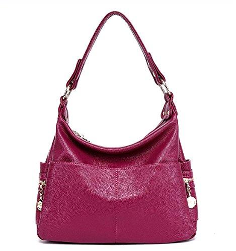 portefeuille centrale Coutures Sac à cuir d'unité sacs Totes bandoulière en Dunland Violet main WTnwBg0