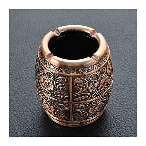 Hongteng European Metal Ashtray with Lid with Creative Personality Home Retro Living Room Coffee Table American Ornaments Ornaments (Color : A)